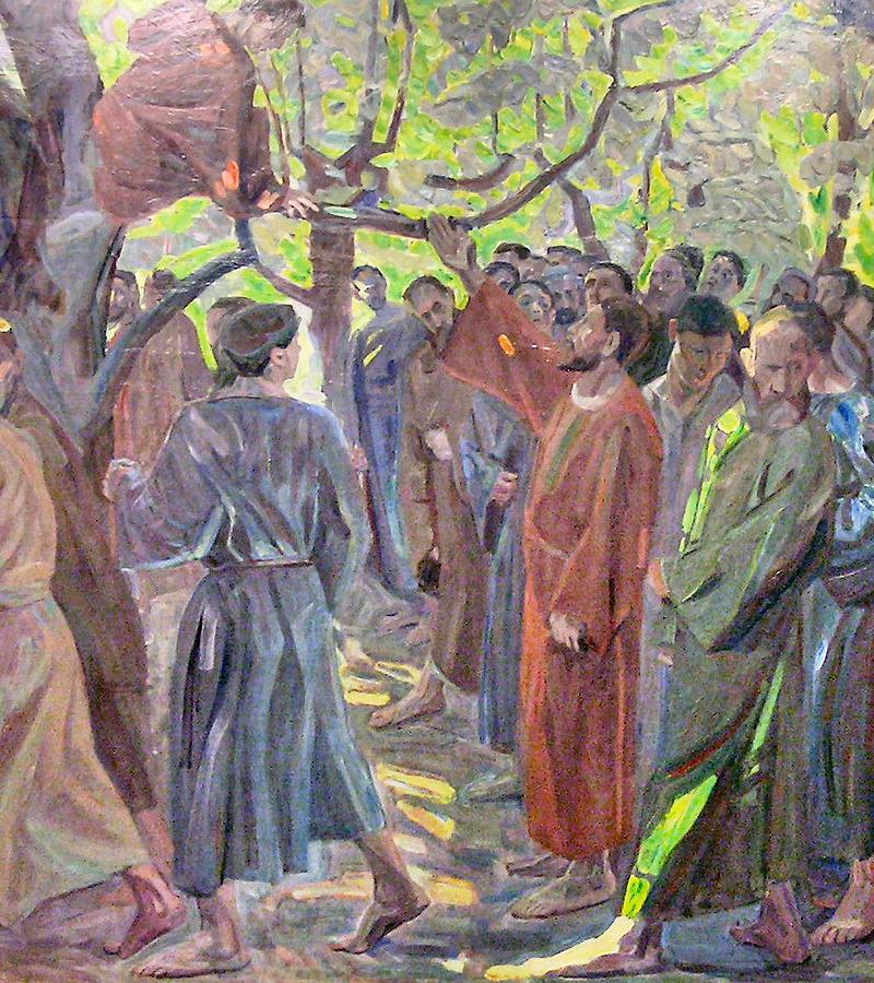 Jesus sagt zu Zachäus, steig herab, ich will zu dir kommen.