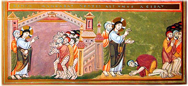 Im linken Teil des Bildes steht Jesus den 10 Aussätzigen gegenüber. Rechts knieht der Samariter vor ihm.