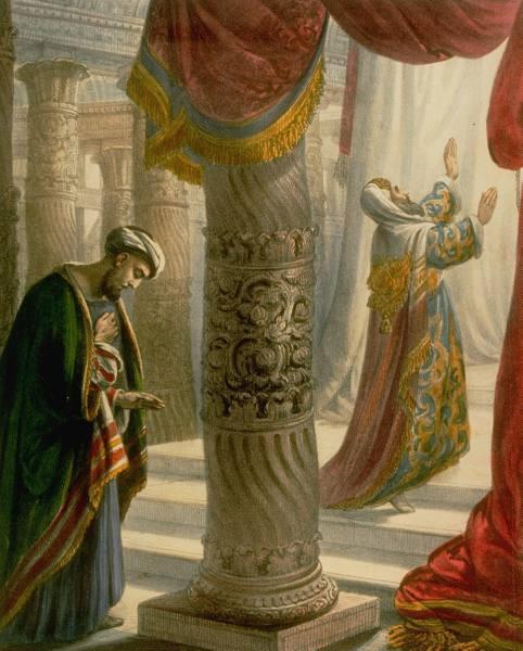 Im rechten Teil hebt der Pharisäer seine Hände nach oben, recht hinten steht der Zöllner und schaut nach unten!