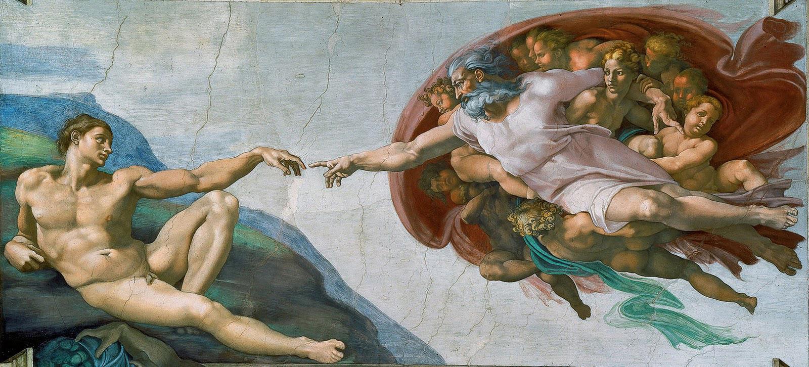 Gott Vater berührt Adam mit dem Zeigefinger und haucht ihm bildlich gesprochen Leben ein.