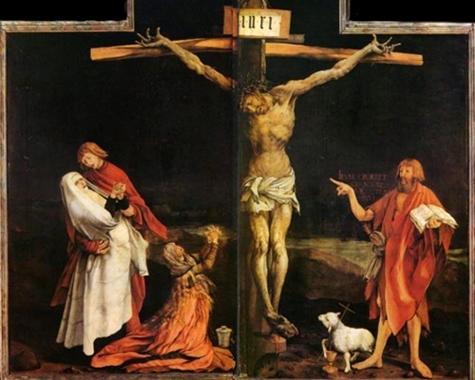 Johannes zeigt unter dem Kreuz mit einem überlangen Finger auf den gekreuzigten Christus.