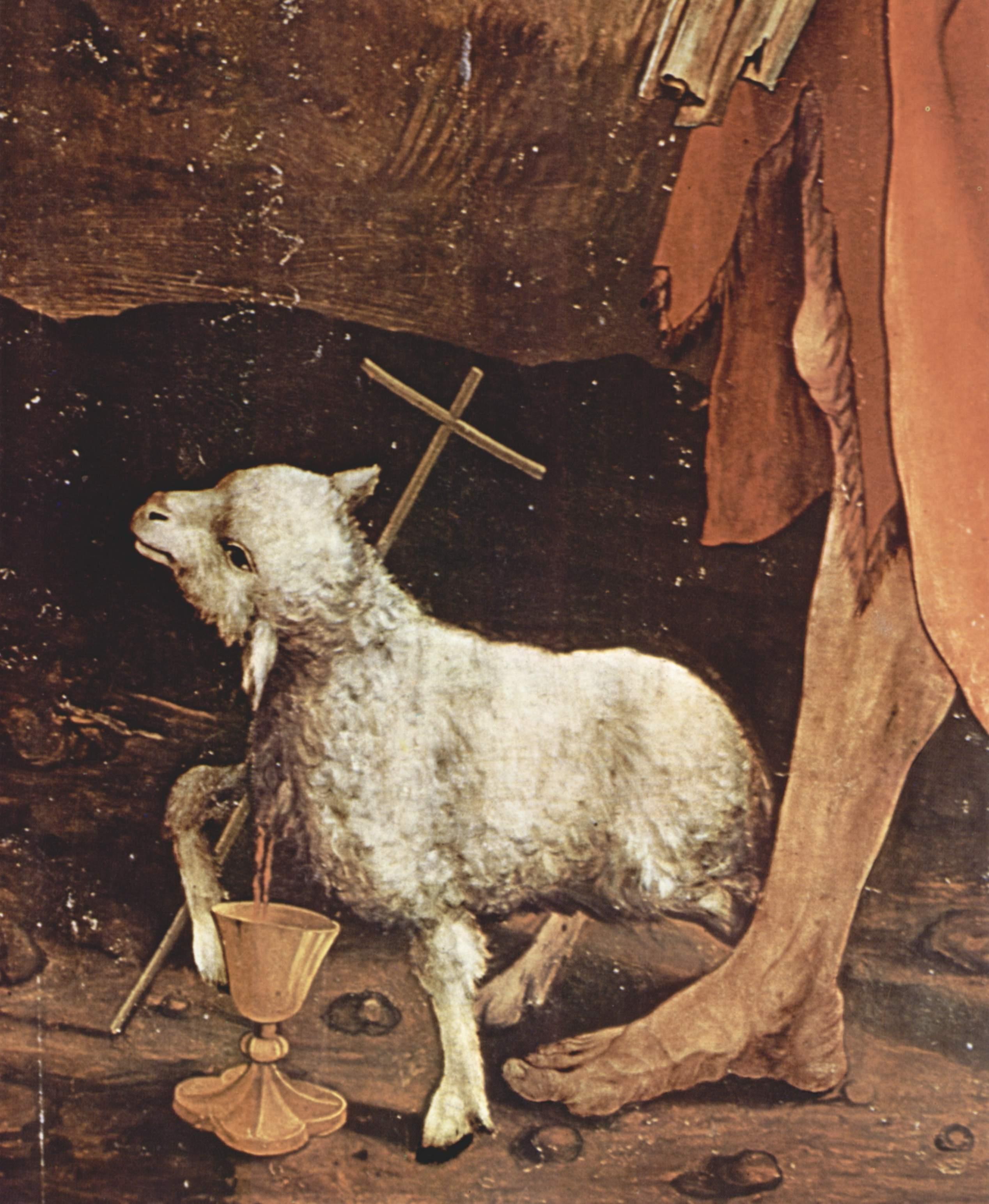 Aus einem ein Kreuz haltendem Lamm fleißt aus seinem herzen Blut in einen Kelch.