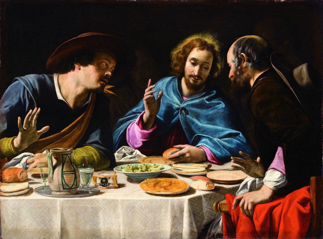 Jesus sitzt mit den Emmausjüngern am Tisch und bricht das Brot!