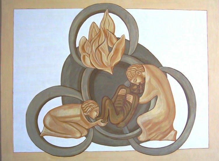 Vater, Sohn und Heiliger Geist tragen und umsorgen einen erschlafften Menschen.