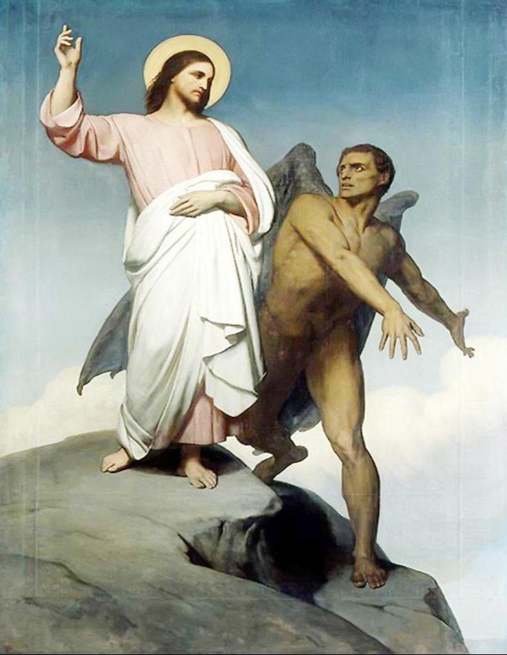 Jesus und der Teufel stehen auf einem Berg. Jesus weist den Teufel zurück!