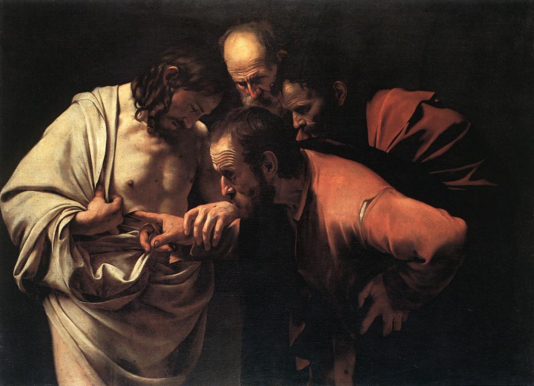 Der ungläubige Thomas steckt seinen Finger in die Seitenwunde von Jesus.