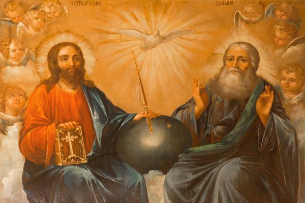 Gott Vater und Jesus siten im Himmel. Wzischen Ihnen ist die Weltkugel. Über dieser schwebt der Geist. Jesus hält ein zepter und die Bibel in seinen Händen.