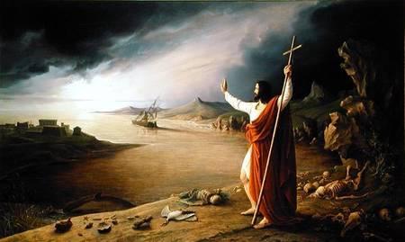 Auf dem Bild Apocalypse von Ludwig Schnorr von Carolsfeld erwartet uns Jesus mit dem Auferstehungskreuz am anderen Ufer.