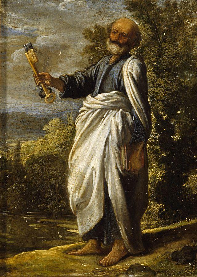 Petrus hält einen goldenen und einen schwarzen Schlüssel vor sich.