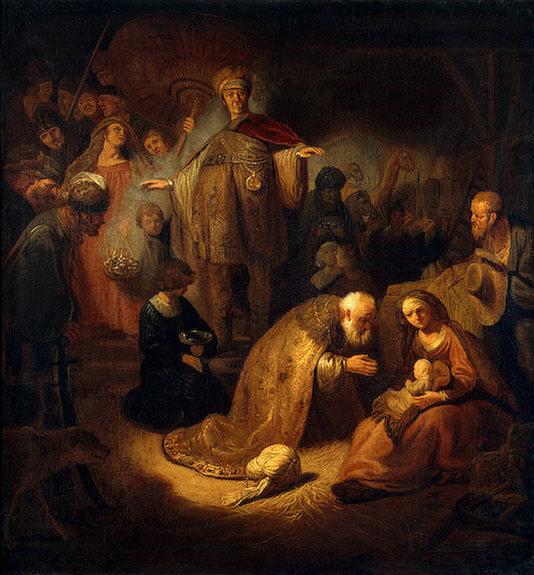 Simeon schaut zum Jesuskind, welches auf dem Schoß Mariens sitzt.