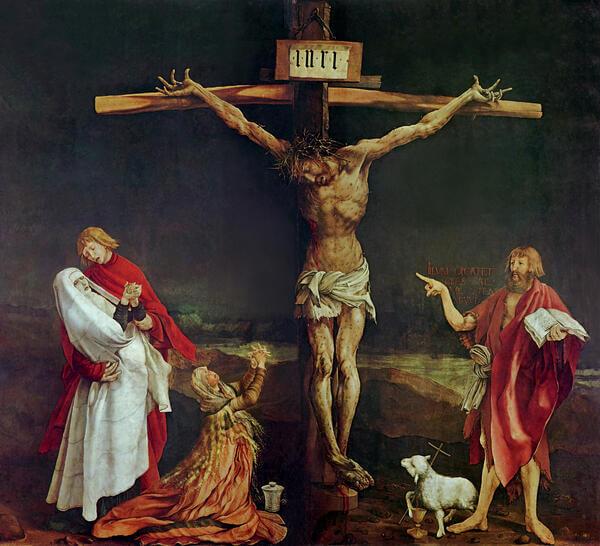 Joh der Täufer weist mit übergroßem Zeigefinger auf den gekreuzigten Christus hin!