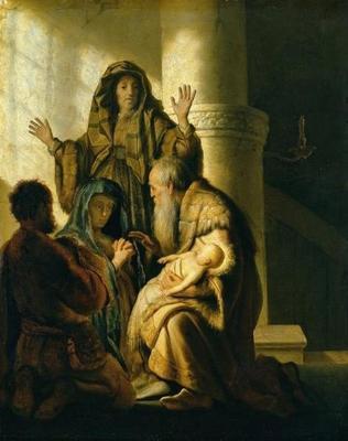 Hanna schaut zum Jesuskind, welches auf dem Schoß Simeons sitzt.
