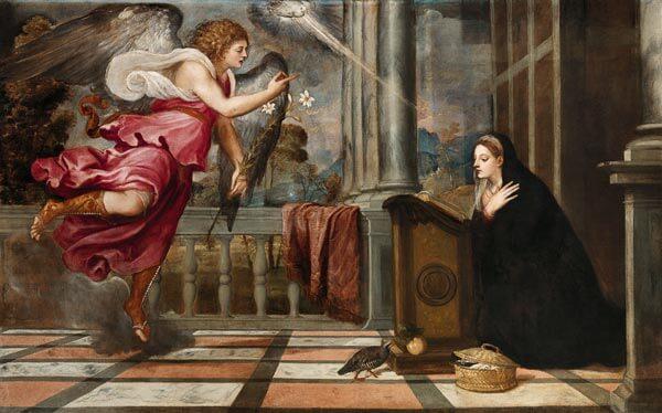Der Engel Gabriel bringt Marias die Nachricht, dass sie einen Sohn vom Heiligen Geist empfangen wird.