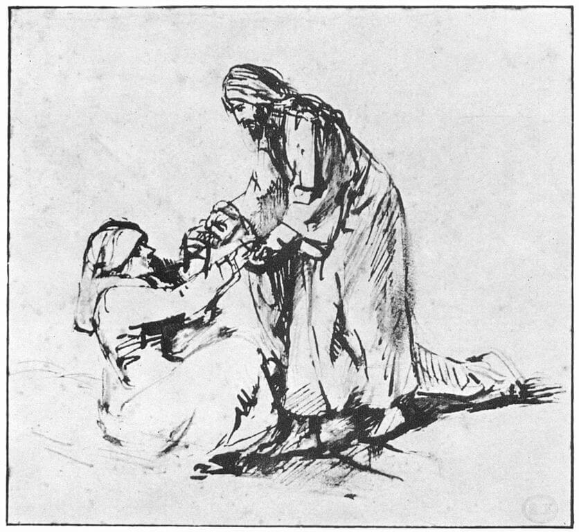 Ein Mann hilft einer liegenden Frau beim Aufstehen.