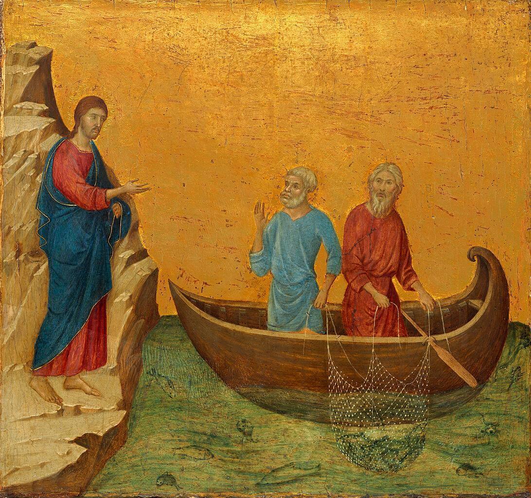 Jesus steht am Umfer eines Sees. Zwei Fischer auf dem See holen ihre netze ein!