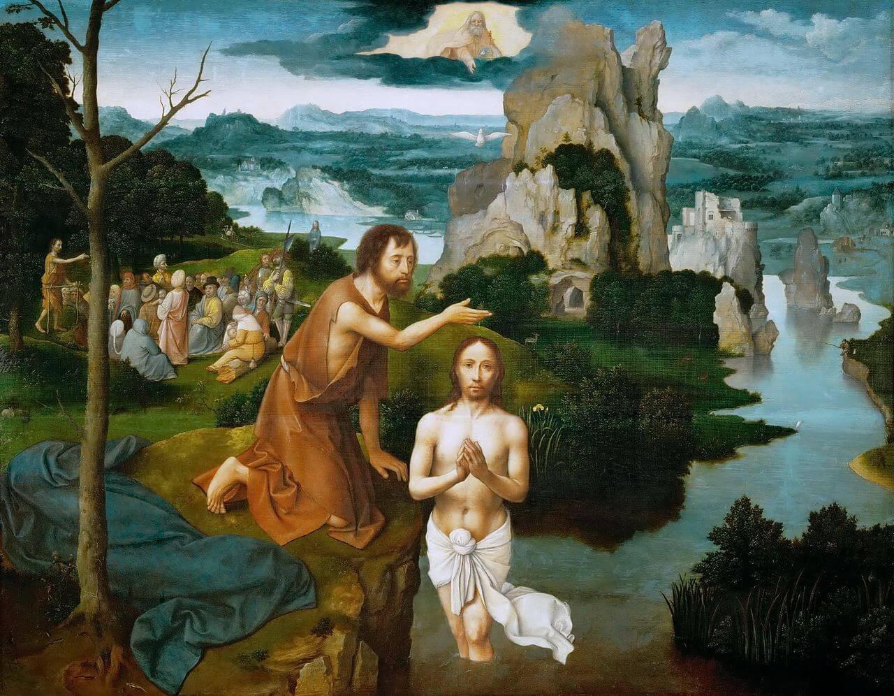 Jesus wird von Joh getauft. Der Hillem öffnet sich. Der Heilig Geist kommt als Taube auf Jesus herab.