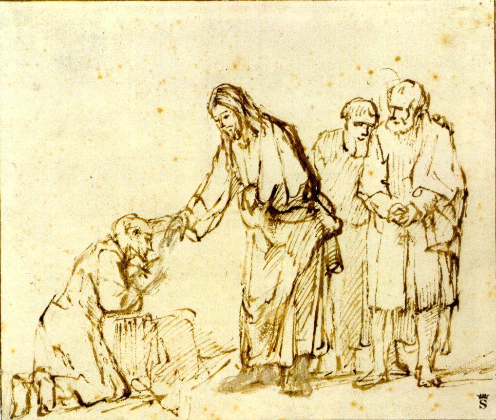 Jesus beugt sich zu einem Knieenden und berührt ihn am Kopf!