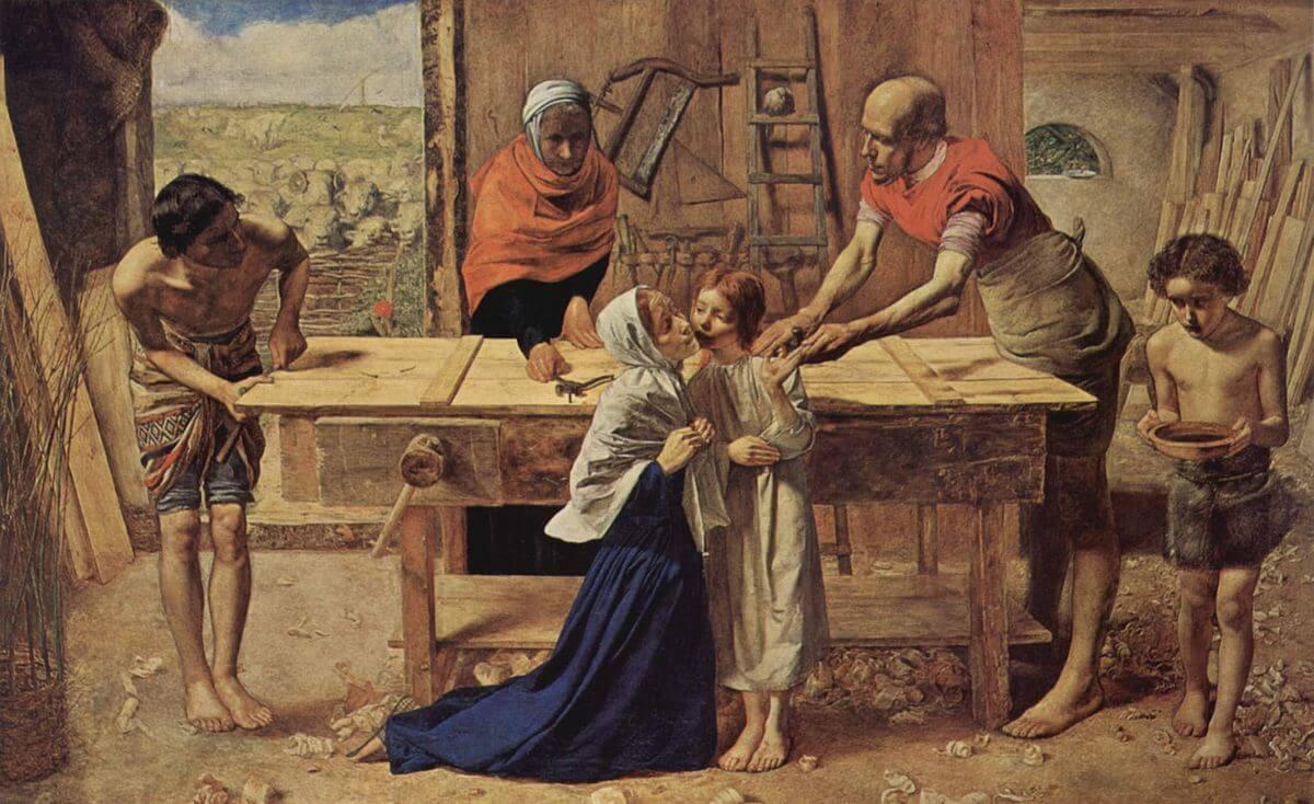Vater, Mutter, Verwante und Kinder sind in einer Holzwerkstatt.