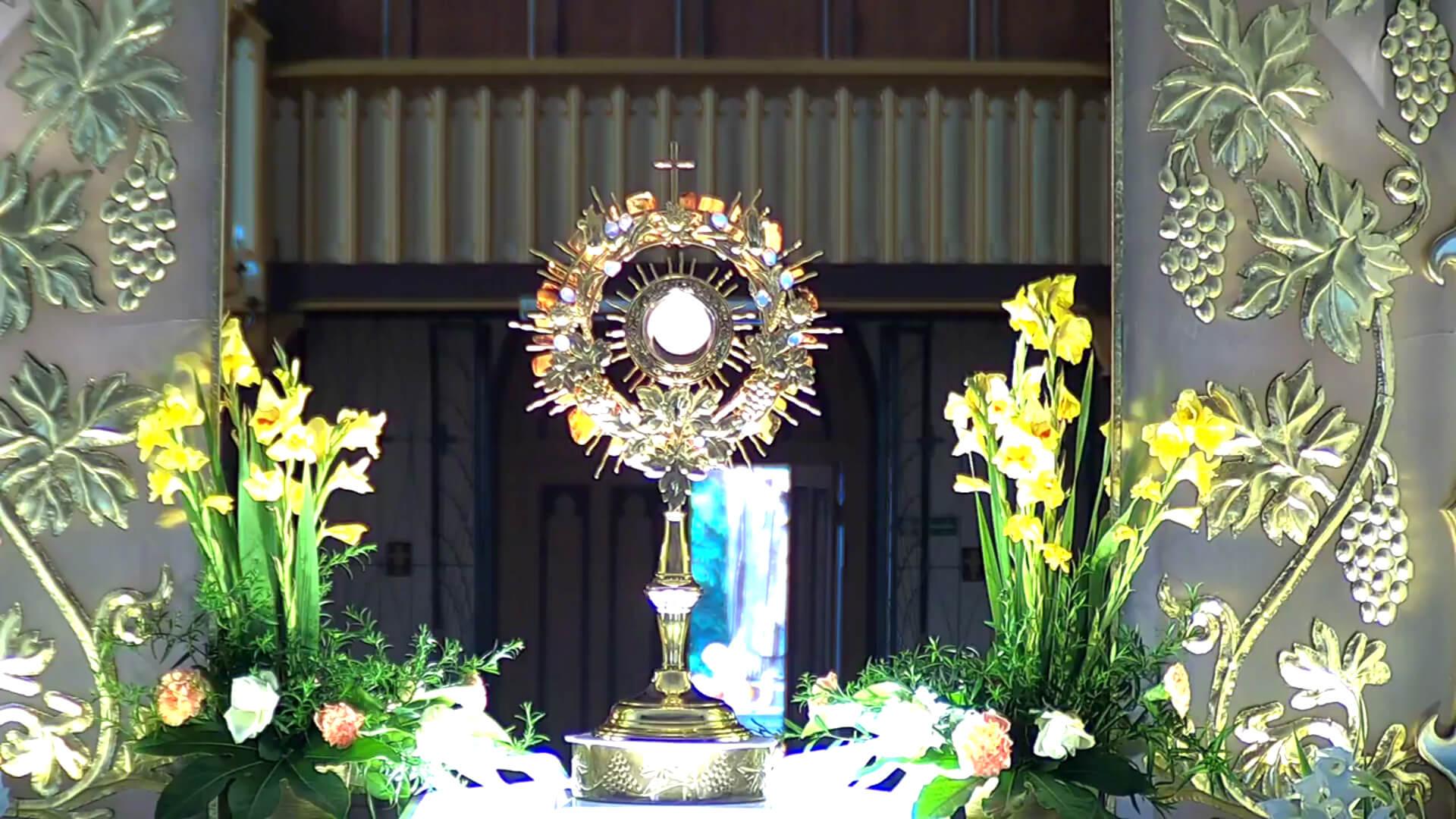 Bild einer Monstranz in der Jesus in der Brotsgestalt zugegen ist.