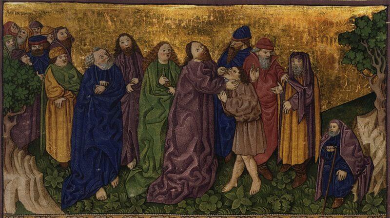 Jesus steht in einer Menschenmenge und berührt einen Mann an seien Ohren.