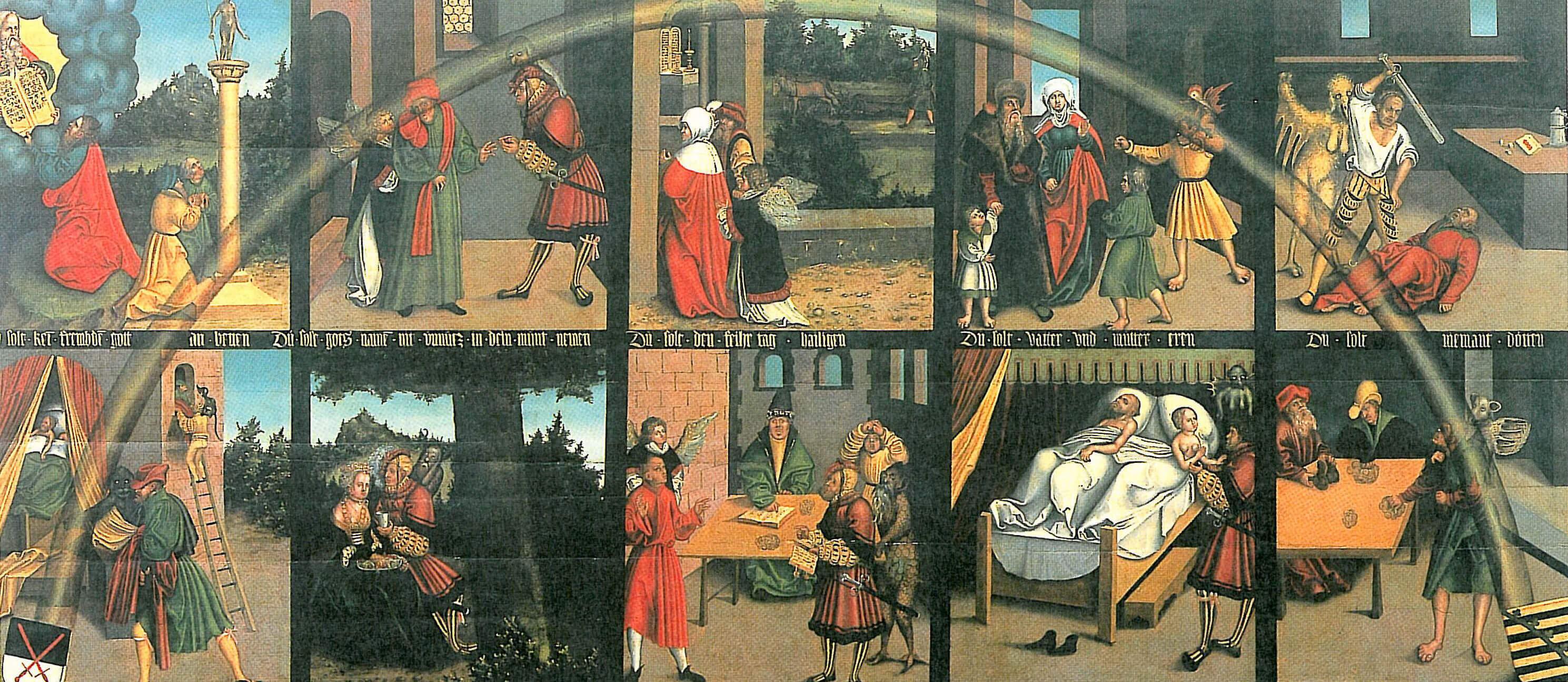 10 Bilder, die jeweils 1 Gebot darstellen, sind in 2 Reihen zu einem Gemälde zusammengefasst