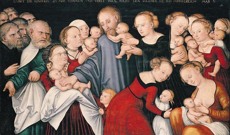Viele Frauen bringen ihre Kinder und Säuglinge zu Jesus. Er berührt sie liebevoll.