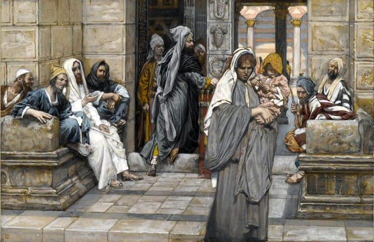 Eine arme Frau trägt ein Kind auf dem Arm und steht neben einem Opferkasten. Viele wohlgekleidete Männer schauen sie an!