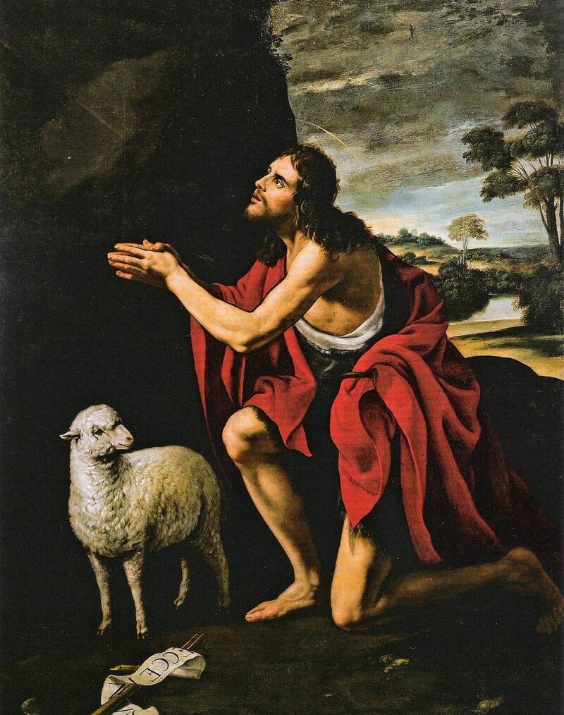 Johannes der Täufer kniet beim Gebet und blickt nach oben.