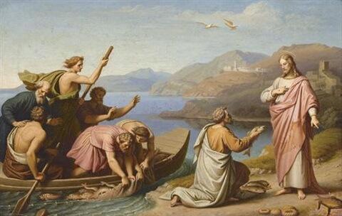 Petrus kniet vor Jesus und hält ihm einen Fisch hin.