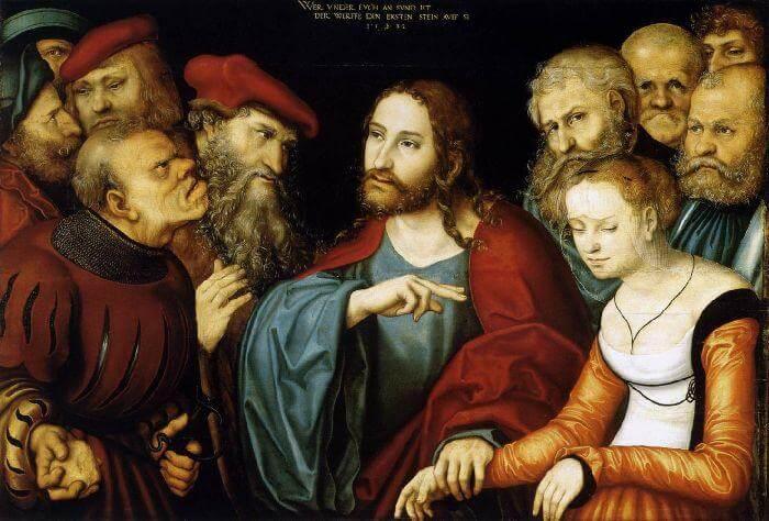 Der reumütige sohn kniet vor seinem Vater. Ein hoher Herr und andere Menschen schauen auf sie.