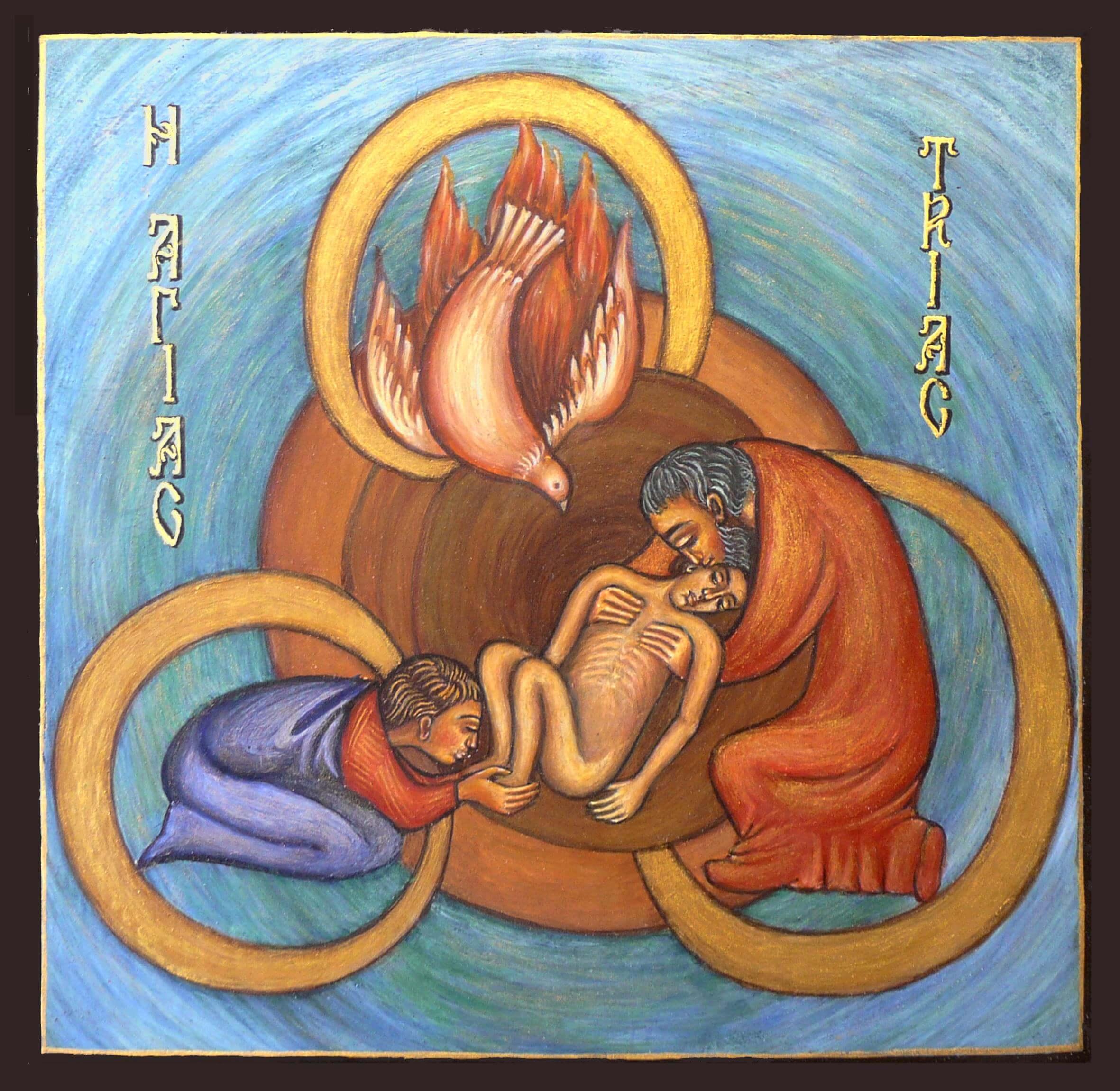 Ikone von Frau Elena Filipescu. Gemalt nach einer Kunstkeramik von Sr. Caritas Müller