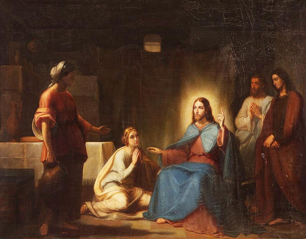 Jesus sagt etwas sehr wichtiges zu Marta und erhebt dabei den Finger. Maria kniet zu seinen Füßen.