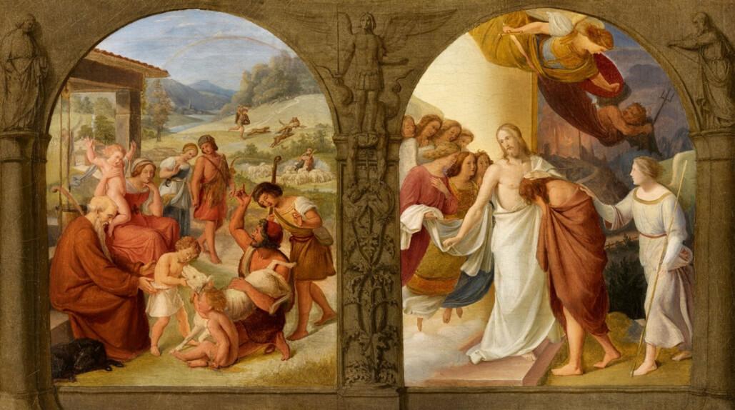 Ein junger Hirte bringt ein Schaf in die Gemeinschaft. Ein reumütiger Sohn weint an der Brust des Vaters.