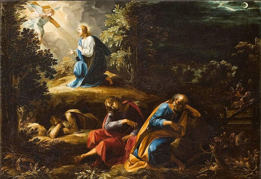 Ein Engel spricht im Hintergrund mit Jesus, die Apostel schlafen im Vordergund.